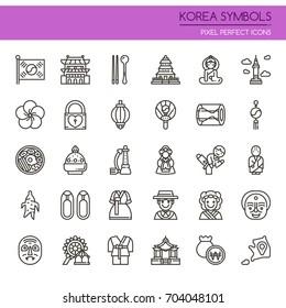 Korea Symbols , Thin Line and Pixel Perfect Icons
