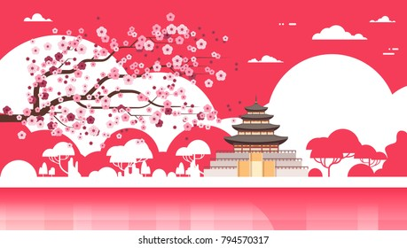 Korea Temple Silhouette Poster Palace Over Sakura Trees South Korean Famous Landmark View Flat Vector Illustration