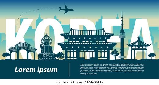 Korea top famous landmark silhouette style,Korea text within,travel and tourism,vector illustration