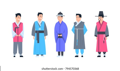 Korea Traditional Clothes Set Of Men Wearing Ancient Costume Isolated Asian Dress Concept Flat Vector Illustration
