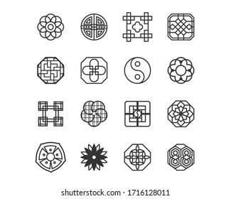 Korea traditional pattern outline icon collection. Thin line icon vector illustrator