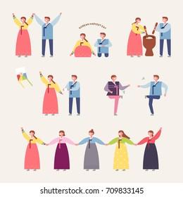 Korea traditional play vector illustration flat design