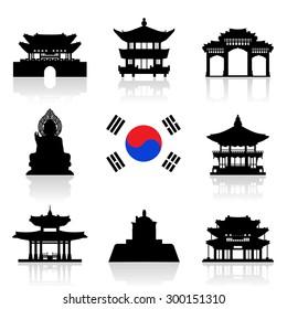 Korea Travel Icon Set. Vector and Illustration.