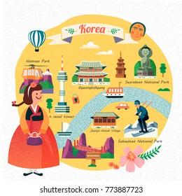 Korea travel illustration, lovely girl wearing hanbok and seeing famous landmarks in Korea, flat design
