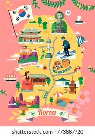 Korea travel map, lovely Korea famous landmark and culture symbol on map in flat design, pink background