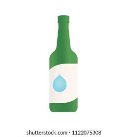 Korean Alcohol Soju Bottle Green Bottle Vector Icon Symbol Isolated Illustration