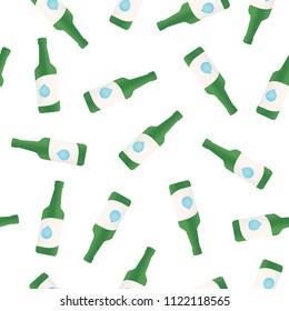 Korean Alcohol Soju Bottle Green Bottle Vector Seamless Repeat Pattern Background