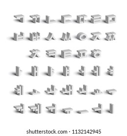 Korean alphabet. Full set of consonants and vowels. Volumetric letters with soft shadows isolated on white background. Vector illustration.