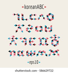 Korean alphabet set in abstract and geometric style.Vector and colored consonants
