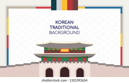 Korean Background vector illustration. Frame with Korean traditional building.