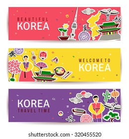 Korean banners set. Horizontal cards with traditional symbols. Architecture and nature, letters of Korean alphabet. Hieroglyphs for four seasons of year. Website headers. Asian New Year. Vector.