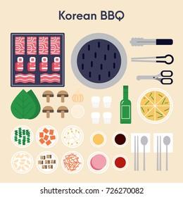 Korean BBQ vector illustration flat design. Main ingredients for Korean bbq - pork, beef, kimchi, onion, mushrooms, seasoning.