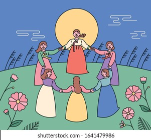 Korean big full moon traditional play. Women wearing traditional Korean costumes are spinning around holding hands. flat design style minimal vector illustration.