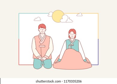 Korean big holiday Thanks giving greeting card. Men and women are wearing traditional costumes and making Korean traditional greetings.  hand drawn style vector design illustrations.