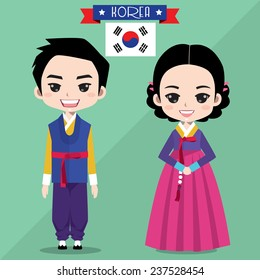 Korean boy and girl in traditional costume