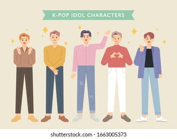 Korean boy idol character set. flat design style minimal vector illustration.