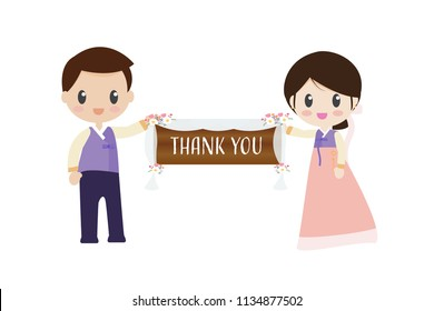 korean bride and groom in traditional wedding dress holding Thank you banner eps10 vector illustration