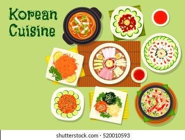 Korean cuisine asian dishes icon with pyongyang cold noodles, kimchi pork soup, raw cod and beef hoe, marinated vegetable salad, duck soup, dried fish, bean jelly salad