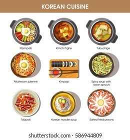 Korean cuisine flat vector collection of dishes on white. Set of asian spicy food signs. Salted fried prawns, korean noodle soup, spicy soup with bean sprouts, mushroom julienne, sushi kimpap