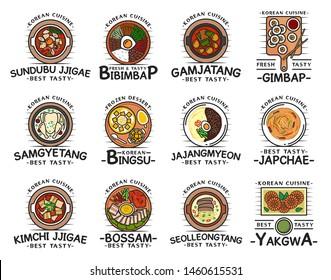Korean cuisine food, traditional breakfast, lunch and dinner meals, restaurant cafe menu dishes. Vector Korean kimchi jjigae soup, bibimpap, gimbap and gamjatang, bingsu dessert and seolleongtang