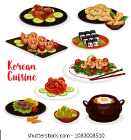 Korean cuisine icon of traditional asian food. Vegetable rice, bbq beef bulgogi, pickled fish and fried shrimp with spinach, beef rice roll, pork rib in soy sauce, vegetable roll and bean pancake