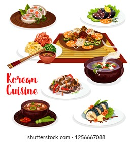 Korean cuisine kimchi, meat and fish dishes. Vector noodle bibimbap and chopsticks, grilled beef bulgogi and fried fish, tofu cheese and pork bean soups, blood sausage and stuffed squid