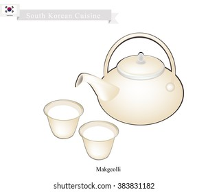 Korean Cuisine, A Pot of Makgeolli or Korean Traditional Rice Wine with Cups. One of Most Popular Drink in Korea.