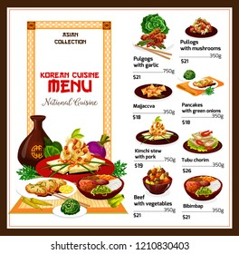 Korean cuisine restaurant menu, vector. Rice bibimbap, kimchi stew with pork and vegetable, fried tofu, rice dessert, bbq beef meat bulgogi and pancake with onion. Asian spicy food