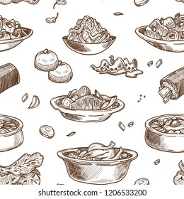 Korean cuisine traditional dishes sketch seamless pattern.