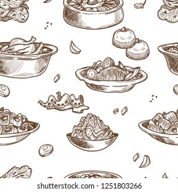 Korean cuisine traditional dishes sketch seamless pattern. Vector set of samgyetang chicken with sannakji and kimchi cabbage, spicy ramen noodles soup or bulgogi and kimpab with pastry for Korea resta