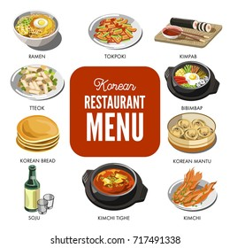Korean cuisine traditional dishes vector flat icons set