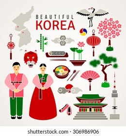 Korean cultural symbols. Set of flat icons. Travel concept. Traditional cuisine and clothes, nature and landmarks, etc. Isolated elements on white background. Vector illustration for Your design.