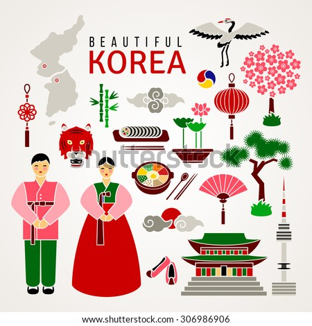 Korean Cultural Symbols Set Flat Icons Stock Vector Royalty Free