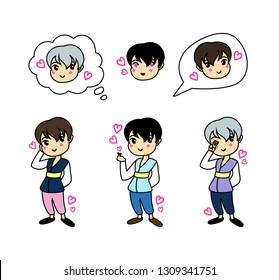 Korean cute cartoon guys in traditional clothes (hanbok). Lovely nice chibi sticker set for korean valentines day, vector illustration isolated on white background. K pop gestures.