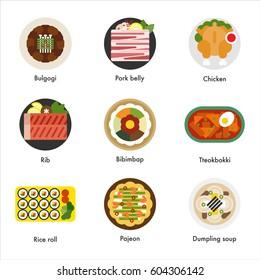 korean favorite food vector illustration flat design