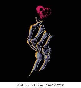 """korean finger bones heart / skull love / Korean Finger Heart """"I Love You"""" Hangul Vector illustration. Korean symbol hand heart, a message of love hand gesture"""