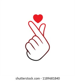 "Korean Finger Heart ""I Love You"" Hangul Vector illustration. Korean symbol hand heart, a message of love hand gesture. Sign icon stylized for the web and print. The hand folded into a heart symbol."