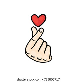 """Korean Finger Heart """"I Love You"""" Hangul Vector illustration. Korean symbol hand heart, a message of love hand gesture. Sign icon stylized for the web and print."""