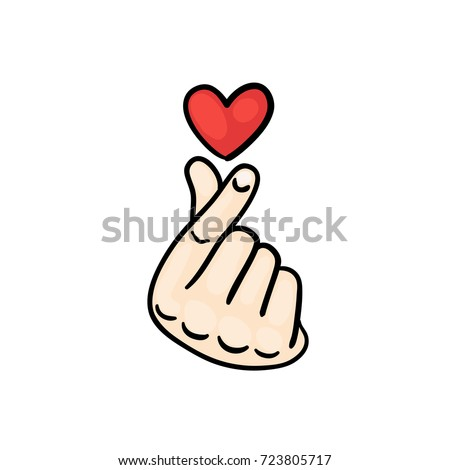 Korean Finger Heart I Love You Stock Vector Royalty Free 723805717
