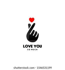 Korean Finger Heart I Love You Hangul logo Vector illustration. Korean symbol hand heart, a message of love hand gesture