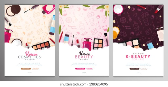 Korean flat cosmetics. Set of K-Beauty banners with hand draw doodle backgrounds. Skincare and Makeup. Translation - Korean Cosmetics. Vector Illustration