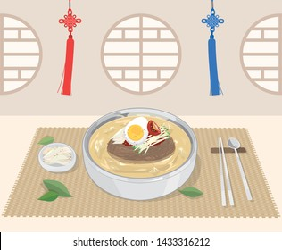 Korean food cold noodles (naengmyeon). Vector illustration EPS10