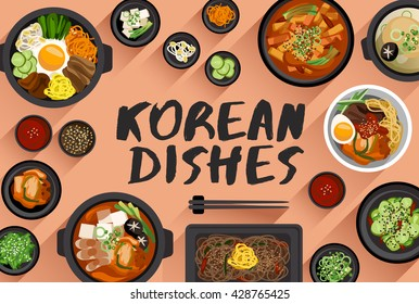 Korean Food : Food Illustration In Top View : Vector Illustration