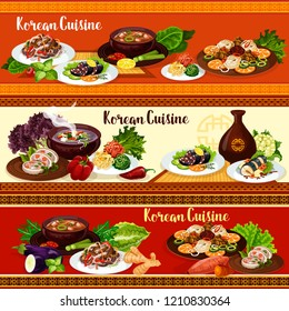 Korean food, vector asian cuisine. Noodle bibimbap, kimchi and tofu soup with pork, vegetable salad, squid and fried fish, grilled beef bulgogi and blood sausage, restaurant menu banners