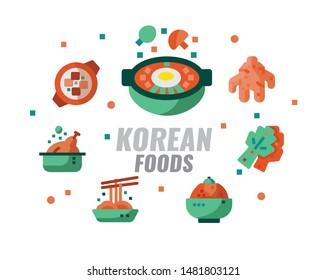 Korean foods, cuisine, recipes banner. Flat design vector illustration
