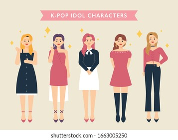 Korean girl idol character set. flat design style minimal vector illustration.