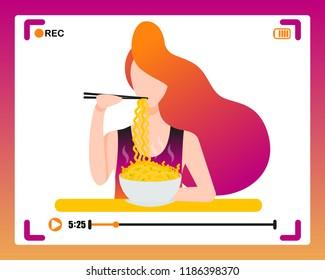 Korean girl making mukbang eating video in social media. Concept vector illustration in flat style