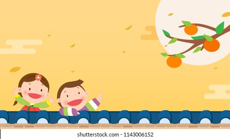 Korean Harvest Festival (Chuseok or Hangawi) background vector illustration. Persimmon tree with kids in Korean traditional costume.