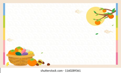Korean Harvest Festival (Chuseok or Hangawi) background vector illustration. Copy space with basket of Persimmons, Songpyeon(rice cake) and chestnuts.