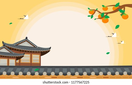 Korean Harvest Festival (Chuseok or Hangawi) background vector illustration. Persimmon tree with Korean traditional house.